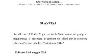 Apertura plichi Avviso Siritidestate 2014