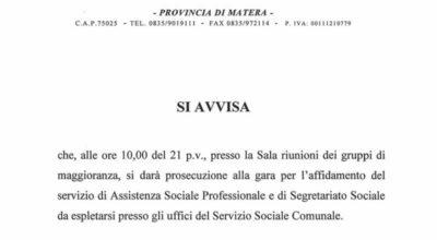Prosecuzione gara affidamento servizio Assistenza Sociale
