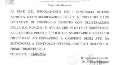 Estrazione atti per controllo interno – 18 Giugno 2014